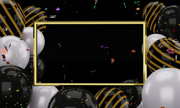 Representación 3d realista plantilla de marco de oro. globos aerostáticos flotantes en blanco y negro