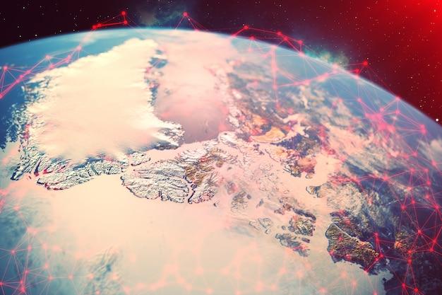 Representación 3d red e intercambio de datos sobre el planeta tierra en el espacio.