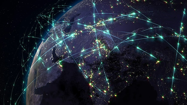Representación 3d de la red mundial y el concepto de comunicación global