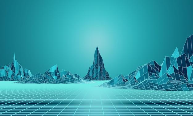 Representación 3d. rejilla de montaña de baja poli. paisaje topográfico azul verdoso.
