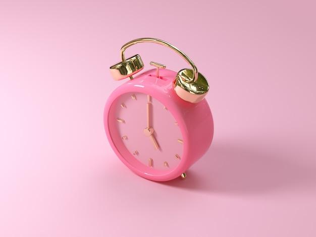 Representación 3d de reloj / alarma de oro rosa