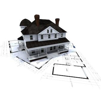 Representación 3d de una residencia de estilo colonial sobre planos