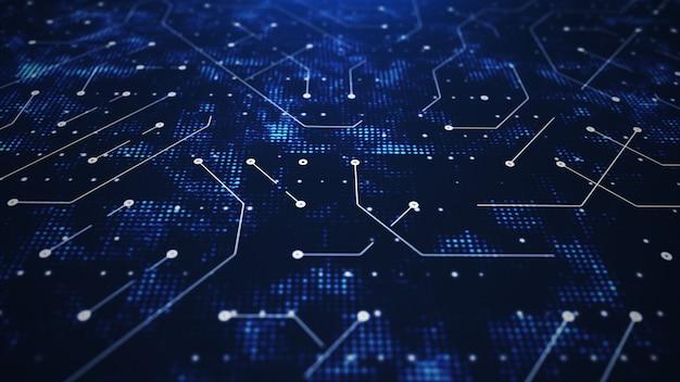 Representación 3d resumen circuito mundial azul
