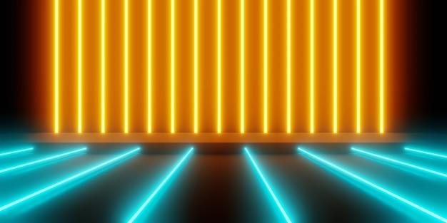 Representación 3d de resumen de luz de neón brillante azul naranja