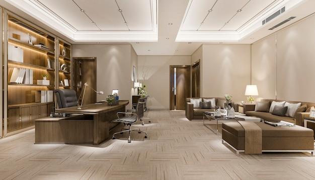 Representación 3d reunión de negocios de lujo y sala de trabajo en la oficina ejecutiva