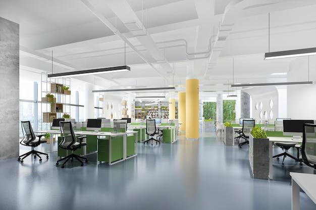 Representación 3d reunión de negocios y sala de trabajo en edificio de oficinas con decoración verde y amarilla