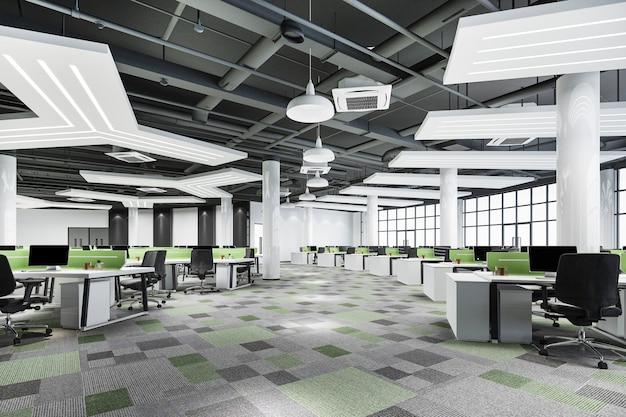 Representación 3d reunión de negocios y sala de trabajo verde en edificio de oficinas