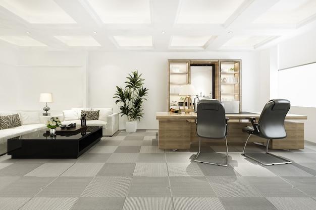Representación 3d de reuniones de negocios de lujo y sala de trabajo en la oficina ejecutiva