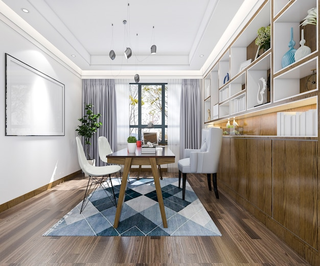Representación 3d de reuniones de negocios y sala de trabajo en el estilo vintage de la oficina en casa