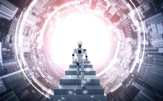 Representación 3d robot humanoide subir escaleras hacia el éxito