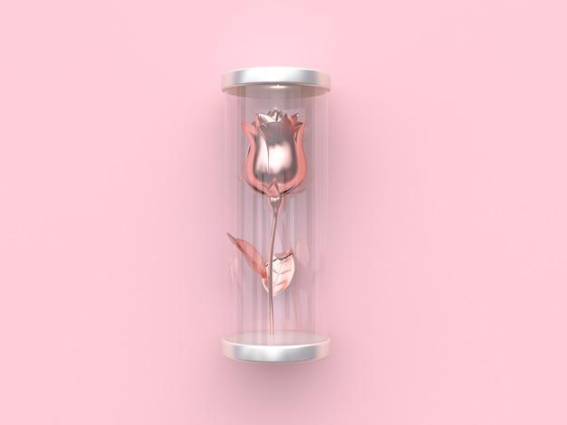 Representación 3d rosa metálico abstracto rosa en tarro transparente san valentín rosa