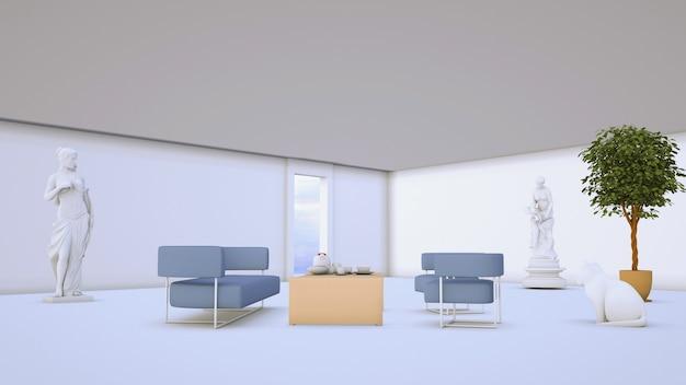 Representación 3d de sala abstracta con sofá para exhibición de productos