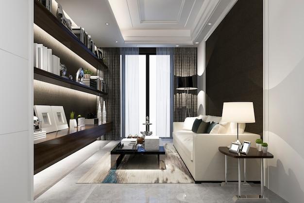Representación 3d de la sala de estar clásica blanca moderna con baldosas de mármol y estanterías