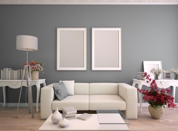 Representación 3d de una sala de estar con dos marcos de póster simulados