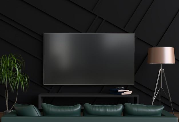 Representación 3d de la sala de estar moderna interior con smart tv, gabinete, sofá y decoraciones.