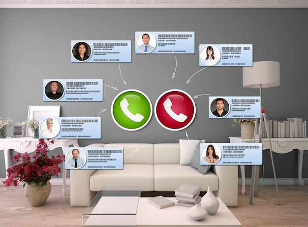Representación 3d de una sala de estar con personas que se conectan en una videollamada
