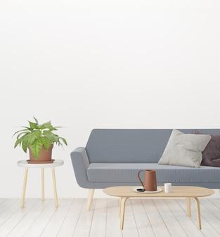 Representación 3d, sala de estar con sofá, planta y pared vacía, interior minimalista loft hipster
