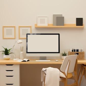 Representación 3d, sala de oficina en casa con computadora, suministros y decoraciones, ilustración 3d