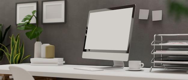 Representación 3d, sala de oficina en casa con escritorio para computadora, suministros de oficina y decoraciones, ilustración 3d