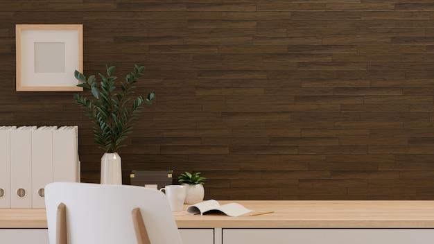 Representación 3d, sala de oficina en casa, la mesa con espacio de copia, archivo de papel de oficina, jarrones de plantas y papelería, ilustración 3d