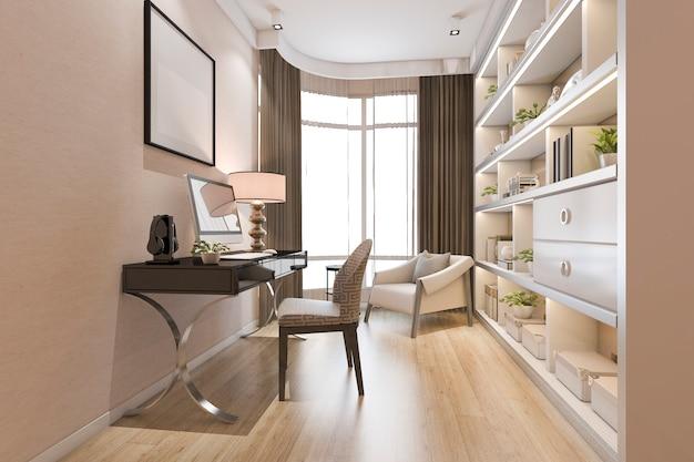 Representación 3d de sala de oficina moderna de lujo