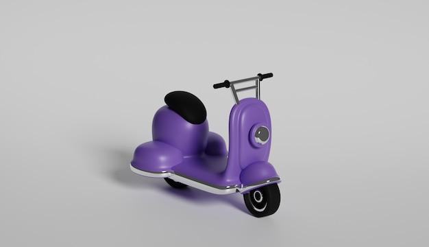 Representación 3d de scooter púrpura sobre fondo gris