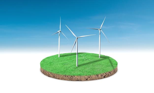 Representación 3d. sección transversal de hierba verde con aerogenerador sobre fondo de cielo azul.