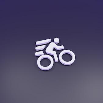 Representación 3d, señal rápida de bicicleta