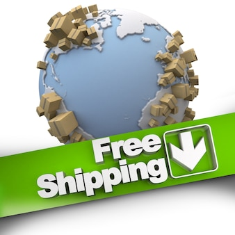 Representación 3d de un signo de concepto de envío gratuito con la tierra y los paquetes