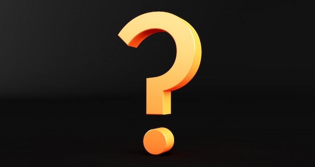 Representación 3d de signo de interrogación sobre fondo negro. exclamación y signo de interrogación
