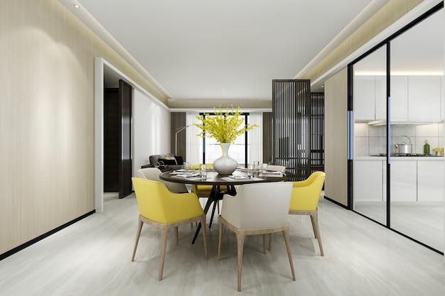 Representación 3d silla amarilla y cocina de lujo con mesa de comedor y sala de estar
