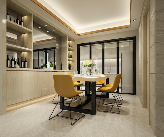 Representación 3d de silla amarilla y cocina de lujo con mesa de comedor