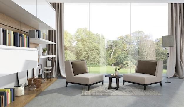 Representación 3d sillón suave en la sala de estar cerca del jardín