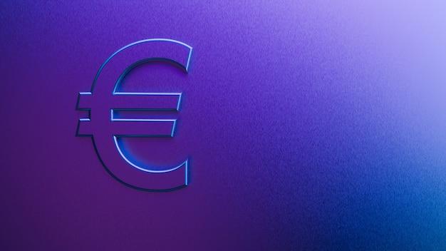Representación 3d del símbolo del euro sobre un fondo púrpura