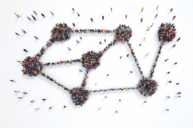 Representación 3d del símbolo de interconexión de formas de personas