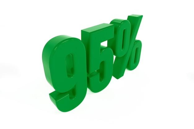 Representación 3d de un símbolo del noventa y cinco por ciento