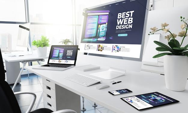 Representación 3d del sitio web de diseño de dispositivos sensibles de oficina