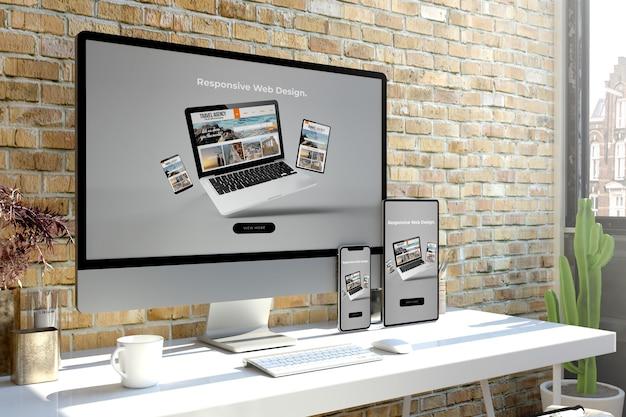 Representación 3d del sitio web de dispositivos receptivos