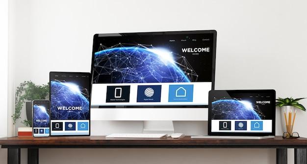 Representación 3d del sitio web de inicio de dispositivos de viaje de vista frontal