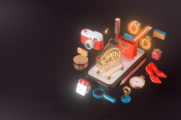 Representación 3d de smartphone y carrito de compras.