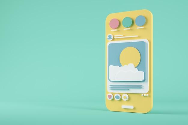 Representación 3d de smartphone de dibujos animados de redes sociales