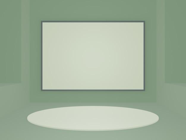 Representación 3d de soporte de producto geométrico verde
