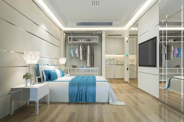 Representación 3d suite de dormitorio azul minimalista de lujo en el hotel con armario y vestidor