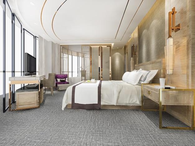 Representación 3d suite de dormitorio de lujo moderno y baño en el hotel