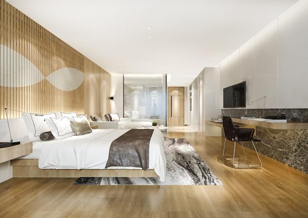 Representación 3d suite de dormitorio de lujo moderno y baño