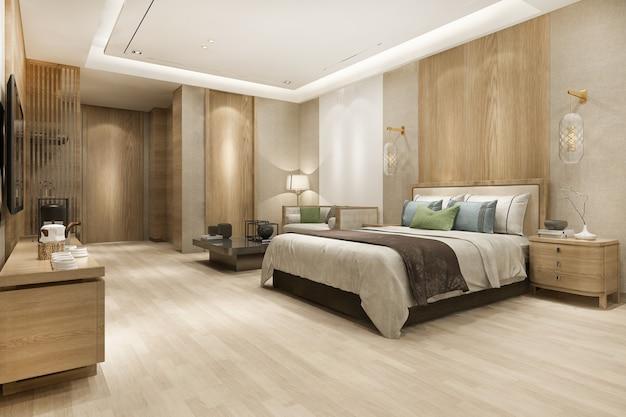 Representación 3d suite de dormitorio moderno de lujo en hotel con armario y vestidor