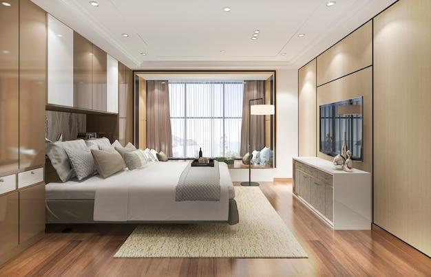 Representación 3d de la suite de un dormitorio moderno de lujo en el hotel