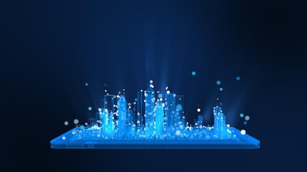 Representación 3d, tableta digital brillante y estructura metálica de la ciudad en partículas de colores azul y blanco brillantes. concepto de comunicación y tecnología digital.