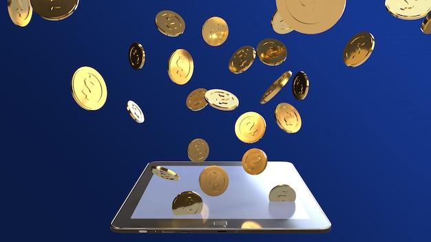 Representación 3d de la tableta y de la moneda de oro para el contenido del negocio.