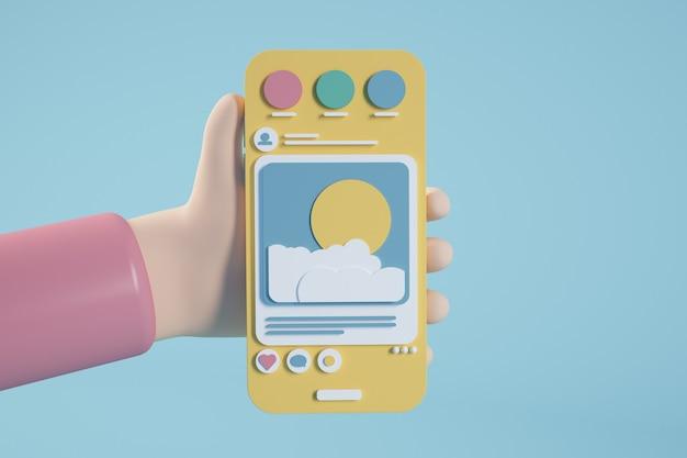 Representación 3d de teléfono de dibujos animados de redes sociales